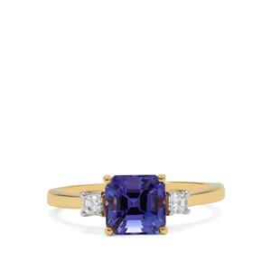 Asscher Cut AAA Tanzanite Ring with Diamond in 18K Gold 1.60cts