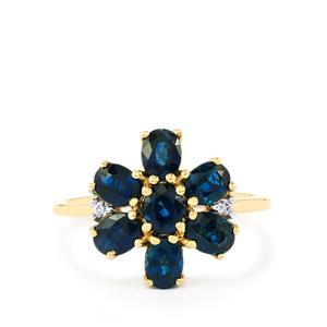 Australian Blue Sapphire & White Zircon 9K Gold Ring ATGW 2.40cts