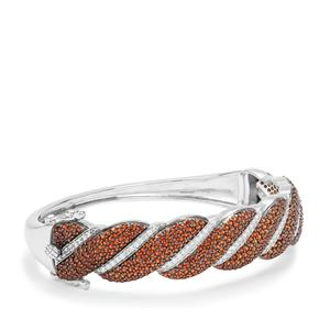 Anthill Garnet Oval Bangle with White Zircon in Sterling Silver 6.42cts