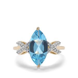 Swiss Blue Topaz & White Zircon 9K Gold Ring ATGW 3.09cts