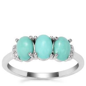 Sleeping Beauty Turquoise Ring with White Zircon in Sterling Silver 1.34cts