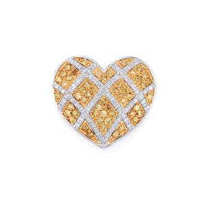 Champagne Diamond Pendant with White Diamond in 10k White Gold 1ct