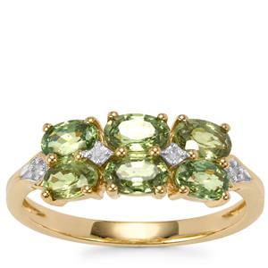 Ambanja Demantoid Garnet Ring with Diamond in 9K Gold 2.08cts