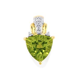 Changbai Peridot Pendant with White Sapphire in 9K Gold 2.08cts