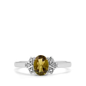 Chrome Tourmaline Ring with Diamond in 9K White Gold 0.70ct
