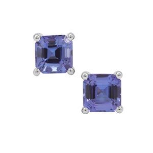 Asscher Cut AAA Tanzanite Earrings in Platinum 950 1.45cts