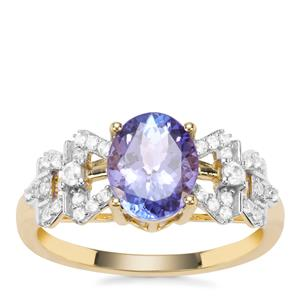 AA Tanzanite Ring with White Zircon in 9K Gold 1.93cts