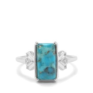 Bonita Blue Turquoise & White Zircon Sterling Silver Ring ATGW 2.69cts