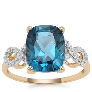 Marambaia London Blue Topaz Ring with White Zircon in 9K Gold 6.84cts