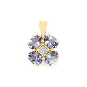 Bi Colour Tanzanite Pendant with Diamond in 9K Gold 2.97cts