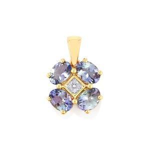 Bi Color Tanzanite Pendant with Diamond in 10k Gold 2.97cts