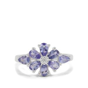 Tanzanite Ring with White Zircon in Sterling Silver 1.50cts