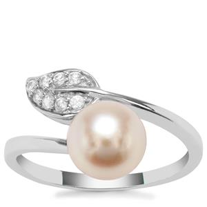 Kaori Cultured Pearl Ring with White Zircon in Sterling Silver (8mm)