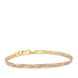 "7"" Three Tone Gold Plated Sterling Silver Altro Diamond Cut Braided Herringbone Bracelet 3.11g"