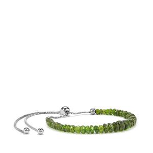 Chrome Diopside Slider Graduated Bead Bracelet in Sterling Silver 14cts