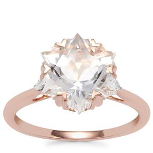 Wobito Snowflake Cut Itinga Petalite Ring with Diamond in 9K Rose Gold 3.49cts