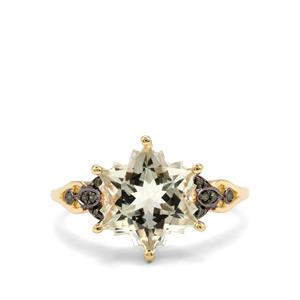Prasiolite Wobito Snowflake Ring with Green Diamond in 10K Gold 4.18cts