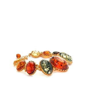 Baltic Cognac, Green, Cherry and Champagne Amber Gold Tone Sterling Silver Bracelet