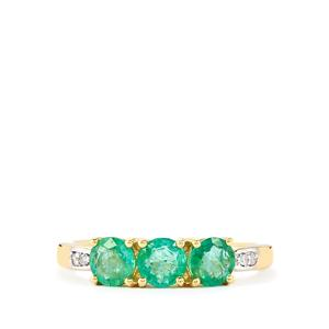 Zambian Emerald Ring with Diamond in 10k Gold 1.11cts