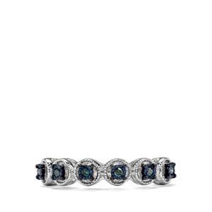1/10ct Blue Diamond Sterling Silver Halo Diamonds Ring
