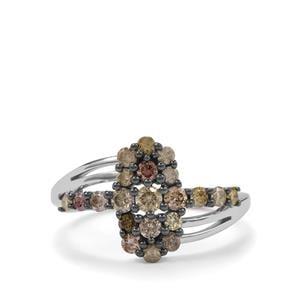 3/4ct Multi-Colour Diamond Sterling Silver Ring