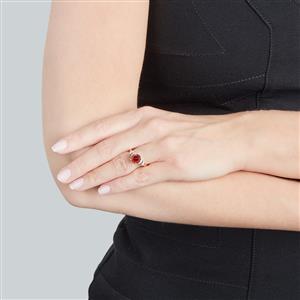 Zanzibar Zircon Ring with Diamond in 14k Gold 3.31cts