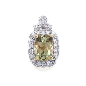 Csarite® & Diamond 18K Gold Pendant MTGW 1.23cts