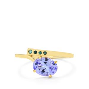 Tanzanite & Blue Diamond 9K Gold Ring ATGW 1.28cts