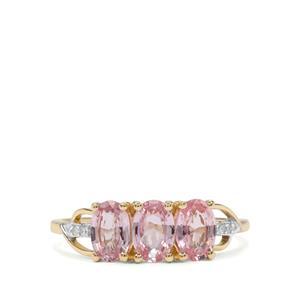Sakaraha Pink Sapphire & Diamond 10K Gold Ring ATGW 1.60cts