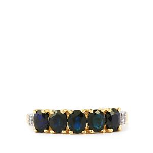 Australian Blue Sapphire Ring with White Zircon in 10k Gold 1.68cts