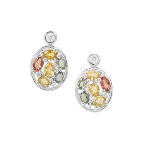 Songea Multi Sapphire Earrings with White Zircon in Sterling Silver 3.97cts