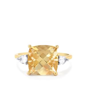 Red Flash Serenite & Ceylon White Sapphire 10K Gold Ring ATGW 4.13cts