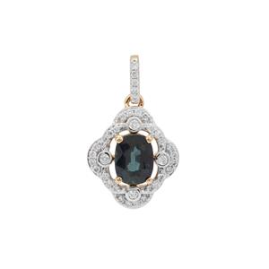 Nigerian Blue Sapphire Pendant with Diamond in 18K Gold 1.40cts