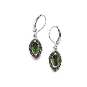 Chrome Diopside Earrings with Green Diamond in Sterling Silver 1.21cts