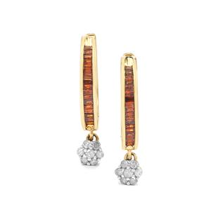 Red Diamond Earrings with White Diamond 9K Gold 0.50ct