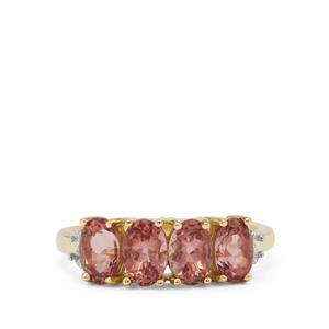 Rosé Apatite & White Zircon 9K Gold Ring ATGW 2.20cts