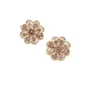 Champagne Diamond Earrings in 9K Gold 0.77ct
