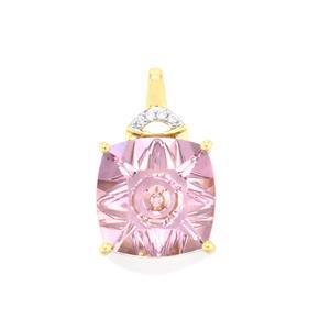 Lehrer QuasarCut Rose De France Amethyst Pendant with Diamond in 10K Gold 5.23cts