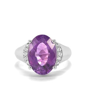 Zambian Amethyst & White Topaz Sterling Silver Ring ATGW 5.88cts
