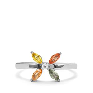 Rainbow Sapphire & White Topaz Sterling Silver Ring ATGW 0.53cts