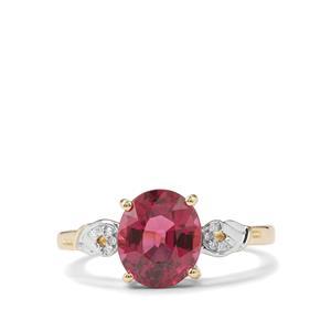 Malawi Garnet & Diamond 9K Gold Ring ATGW 2.87cts