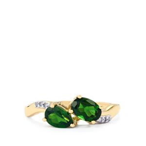 Chrome Diopside Ring with Diamond in 10k Gold 1.18cts