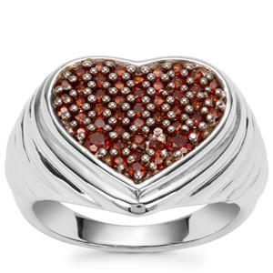 Anthill Garnet Heart Design Ring in Sterling Silver 0.86ct