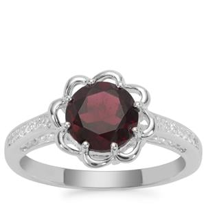 Octavian Garnet Ring with White Zircon in Sterling Silver 1.96cts