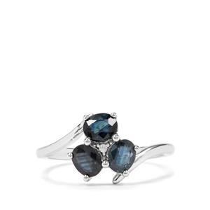 Australian Blue Sapphire & White Zircon Sterling Silver Ring ATGW 1.35cts