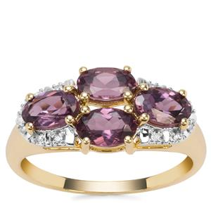 Mahenge Purple Spinel Ring with Diamond in 9k Gold 2.11cts