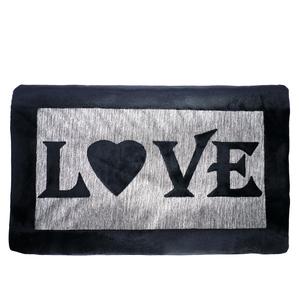 Black and Grey Velvet Love Cushion with Inner - 30x50cm