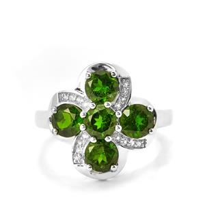 Chrome Diopside & White Topaz Sterling Silver Ring ATGW 2.95cts