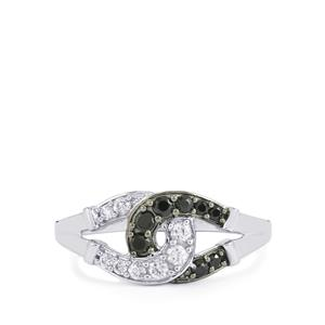 Black Spinel Ring with White Zircon in Sterling Silver 0.58cts