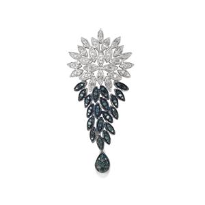 Blue Diamond Pendant with White Diamond in Sterling Silver 0.76ct
